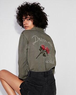 Express Womens Silky Soft Twill Embroidered Boyfriend Shirt