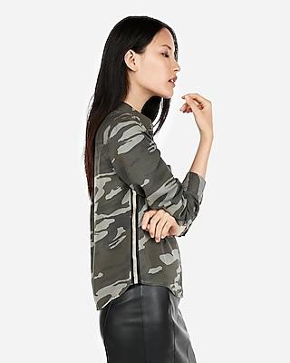 Express Womens Silky Soft Twill Camo Metallic Stripe Shirt