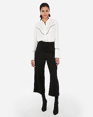 Express Womens Western Piped Flare Sleeve Button Up Shirt White Women's Xxs White Xxs