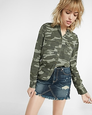 Express Womens Soft Twill Camouflage Military Boyfriend Shirt