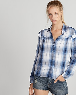 Express Womens Light Plaid Ruffle Shoulder Shirt
