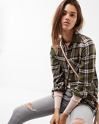 Express Womens Plaid One Pocket Flannel Shirt