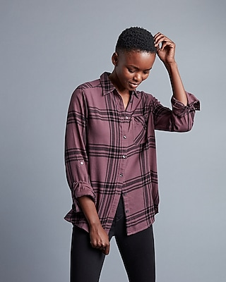 Express Womens Plaid Flannel Shirt