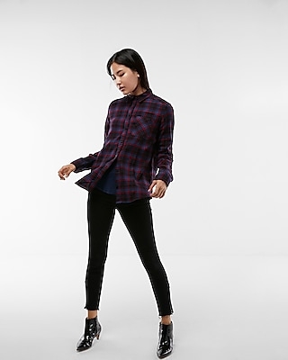 Express Womens Flannel Boyfriend Shirt