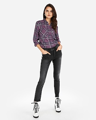 Express Womens Plaid Two Pocket Boyfriend Flannel Shirt