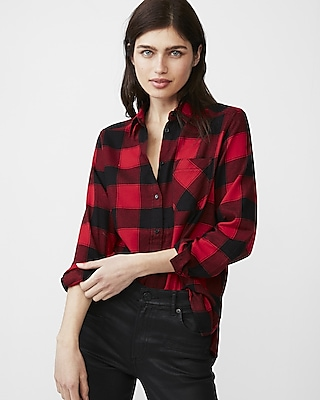 Express Womens One Pocket Flannel Shirt