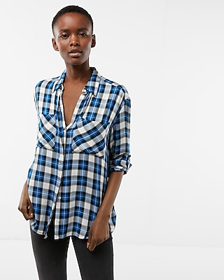 Express Womens Small Plaid Boyfriend Shirt