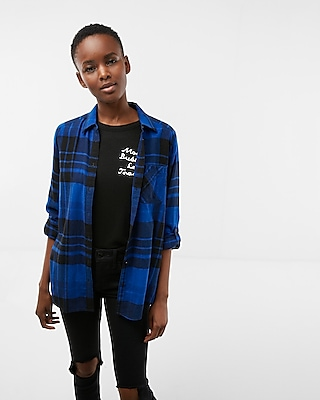 Express Womens Blue Plaid Flannel Shirt