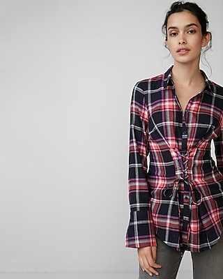 Express Womens Corset Front Cotton Flannel Shirt