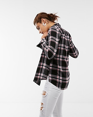Express Womens Plaid Flannel Boyfriend Shirt