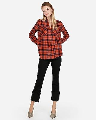 Express Womens Orange Plaid Flannel Boyfriend Shirt