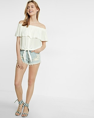 Express Womens Express Womens Tie Front Off The Shoulder Flutter Sleeve Blouse White Xx Small