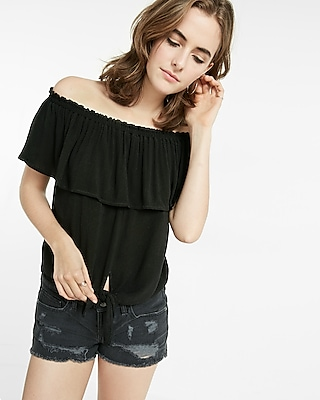Express Womens Tie Front Off The Shoulder Flutter Sleeve Blouse