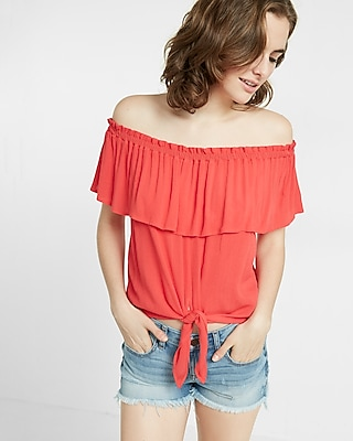 Express Womens Express Womens Tie Front Off The Shoulder Flutter Sleeve Blouse Red Xx Small