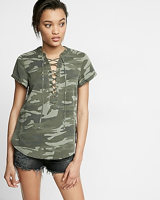 Express Womens Camouflage Lace-Up Short Sleeve Top