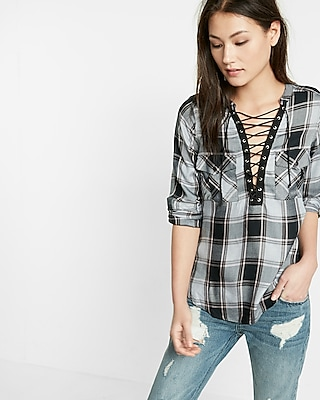 Express Womens Black And Pink Plaid Lace-Up Shirt Plaid XX Small