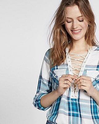 Express Womens Plaid Lace-Up Shirt