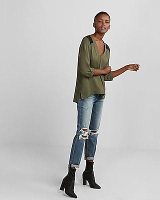 Express Womens Deep V-Neck Lace Back Blouse