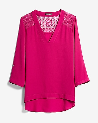 Express Womens Deep V-Neck Lace Back Blouse Pink XX Small