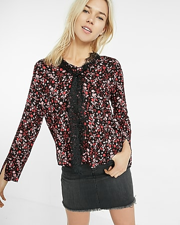 floral tie-neck bell sleeve blouse