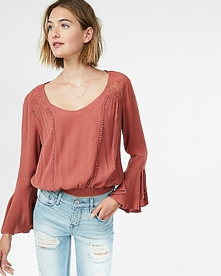 Express Womens Lace Smocked Hem Blouse