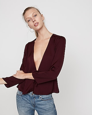 Express Womens Tie Front Blouse