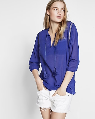 Express Womens Lace-Up Tassel Beach Cover-Up Blue XX Small