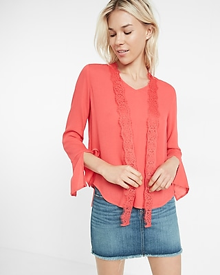 Express Womens Tie-Neck Bell Sleeve Blouse Red XX Small