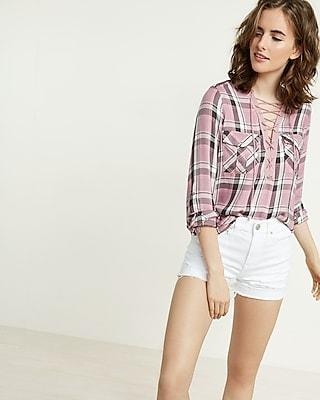 Express Womens Pink Plaid Lace-Up Shirt