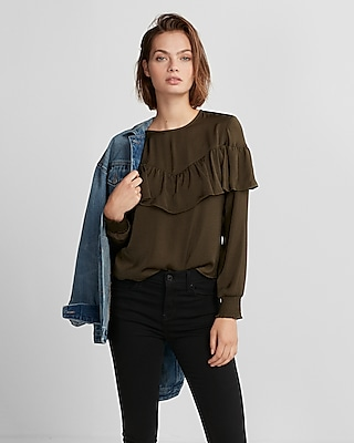 Express Womens Solid Ruffle Front Smocked Sleeve Blouse