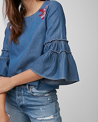 Express Womens Silky Soft Denim Embroidered Top