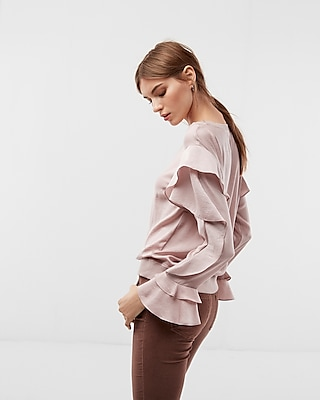 Express Womens Satin Ruffle Sleeve Top