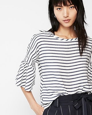Express Womens Blue Stripe Tie Back Top