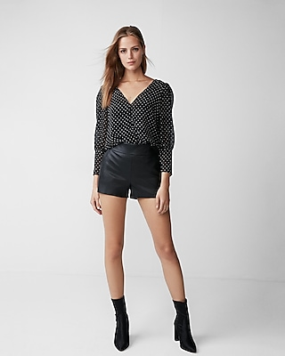 Express Womens Textured Dot Puff Sleeve Top