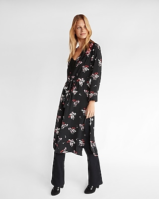 Express Womens Floral Embroidered Cinched Waist Kimono