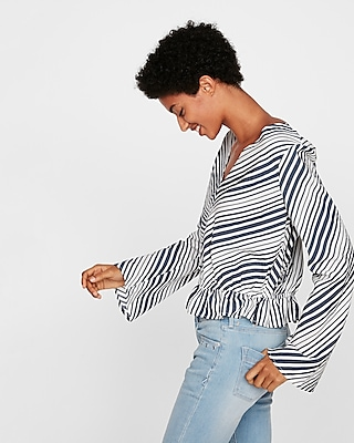 Express Womens Petite Striped Surplice Smocked Hem Blouse
