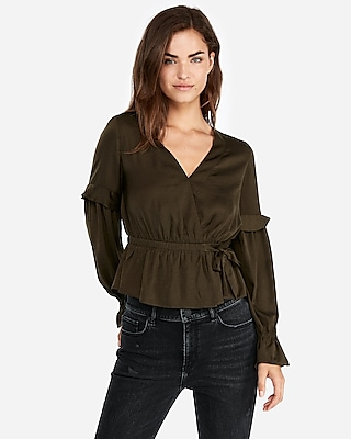 Express Womens Surplice Wrap Ruffle Sleeve Blouse