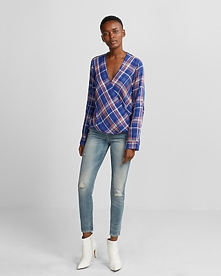Express Womens Blue Plaid Surplice Blouse