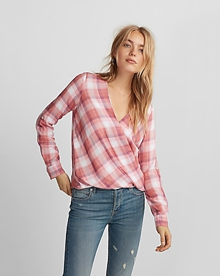 Express Womens Pink Plaid Surplice Blouse