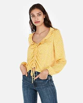 Express Womens Satin Polka Dot Ruched Front Ruffle Neck Top Yellow Women's S Yellow S