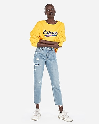 Express Womens Express One Eleven Yellow Logo Graphic Sweatshirt