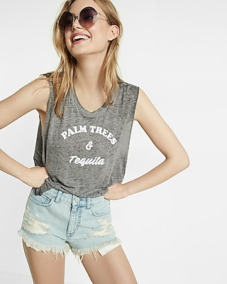 Express Womens Express One Eleven Palm Trees And Tequila Tank