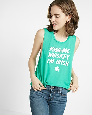 Express Womens Whiskey I'm Irish Crew Neck Muscle Tank
