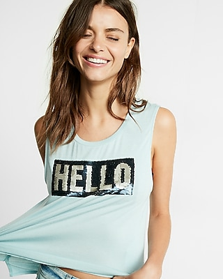 Express Womens Color Change Hello Bye Sequin Muscle Tank