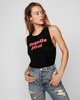 Express Womens Tequila First Crew Neck Muscle Tank