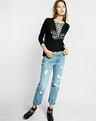 Express Womens Express One Eleven Lace-Up Weekend Tee