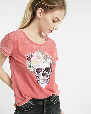 Express Womens Express One Eleven Floral Skull Tee