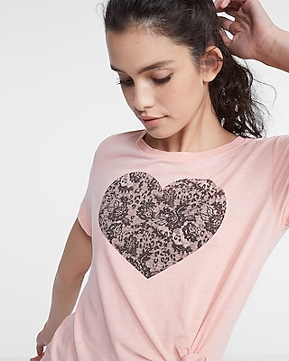 Express Womens Express One Eleven Lace Heart Tee