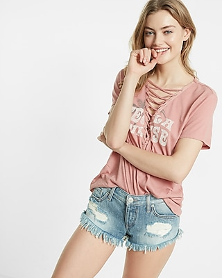 Express Womens Express Womens Express One Eleven Tequila Sunrise Lace-Up Tee Pink Xx Small