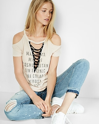 Express Womens Drink List Cold Shoulder Lace-Up Tee